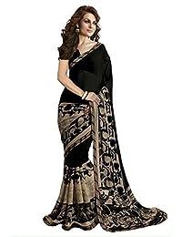 Clothsfab Women's Georgette Saree With Blouse Piece (Malika Black, Black, Free Size)
