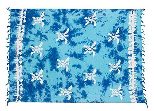 Sarong ca. 170cm x 110cm Handgearbeitet inkl. Sarongschnalle im Schmetterling Design - Viele exotische Farben und Muster zur Auswahl - Pareo Dhoti Lunghi Schildkröte Türkis Blau Batik