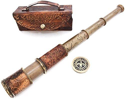 Nautisches Handheld Pirat Messing Teleskop mit Box/Fall, Sailor Home Decor Pirat Captain Boot Spielzeug Geschenk (40,6cm Dollond)