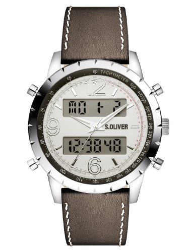 s.Oliver - SO-2820-LD - Montre Homme - Quartz Analogique - Digital - Bracelet Cuir Marron
