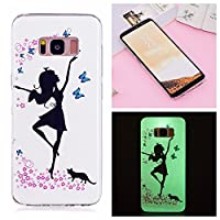 Mokyo Samsung Galaxy S8 Plus Case,Luminous Effect Noctilucent Silicone Cover Night Glow in The Dark Shockproof Ultra Thin Soft TPU Gel Bumper Case with [Free Stylus Pen] Creative Colourful Pattern Printed Design Flexible Fluorescent Rubber Anti-Scratch Pr