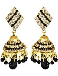 Sorella'z Golden & Black Jhumki Earrings for Women