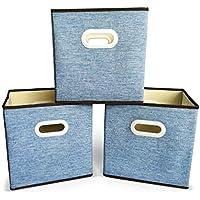 Set 3 Scatole Portatutto, Pieghevoli, Manici Resistenti. Ottima qualità. Organizza tutto in questi cubi robusti e dal design elegante. Compatibile con librerie Ikea Expedit (Kallax) - Sopra Giochi D'acqua