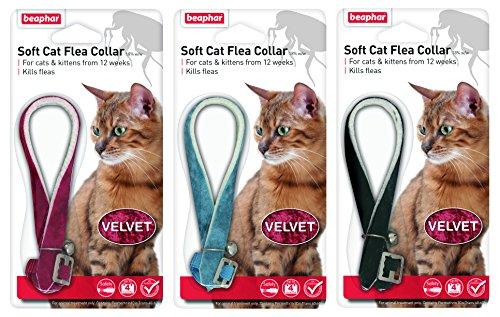 Beaphar Cat Flea Collar Velvet Black, Red or Blue
