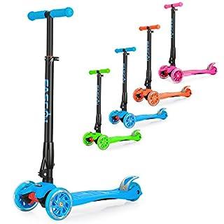 Fascol Klappbar Scooter ab 3-14 Jahre Cityroller mit Leuchtende Räder Belastbarkeit bis 60kg, Blau