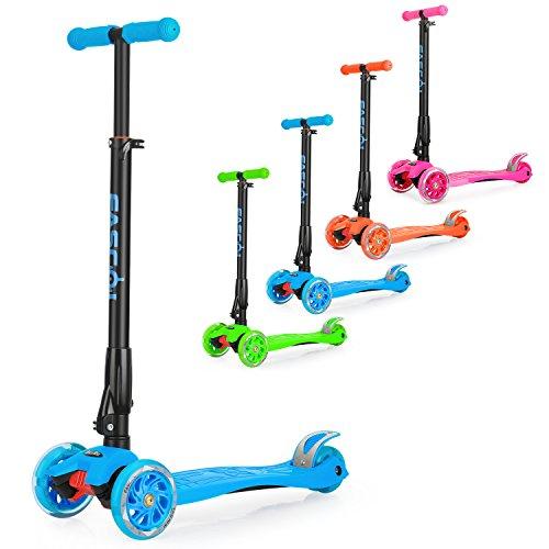 Fascol Patinete de 3 Ruedas con Diseño Scooter para Niños de 2 a 12 Años de Edad + Rodillera, Azul