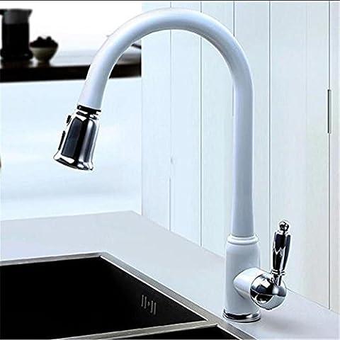 Modylee Nuovo arrivo brevetto Design lucido rame risparmio idrico filtro girevole alta qualità lavello Miscelatore bianco tirare fuori rubinetto della cucina