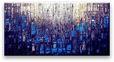 Oil Painting Abstract Modern Contemporary Wall Decor Art on Canvas Deep Blue