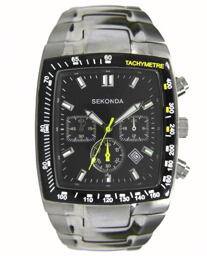 0c1d99a2a7 Sekonda Men's Quartz Watch with Black Dial Chronograph Display and Silver  Stainless Steel Bracelet 3844.27 (B008OSF0DW) | Amazon price tracker /  tracking, ...
