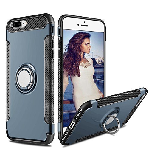 Cover iPhone 7 Plus, Coolden Dual Layer Cover Protettiva iPhone 7 Plus Grip Ring Kickstand Cover Shock-Absorption Soft TPU Bumper Protezione Cover Custodia Case per iPhone 7 Plus / 8 Plus - Nero Marina