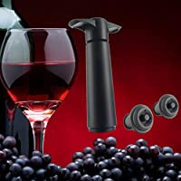Spritumn Wine & Beverage Bottle Vacuum Saver Pump Preserver with 2 Rubber Vacuum Bottle Stoppers Fits All Bottle Sizes 4.9 inch Black