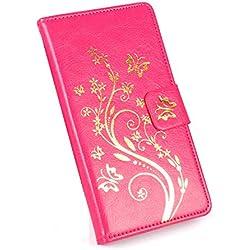 Easbuy With Gold Fleur Flip en PU cuir Etui Étui Housse Coque with Carte Slot Pour Acer Liquid Z630(5,5 pouces) Smartphone Anti-Scratch Pu Leather Cover Case