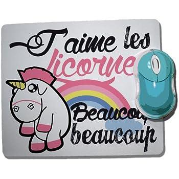 tapis de souris licence officielle quot j aime les licornes