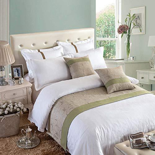 Osvino corridori copriletto decorativi letto tessuto lussuoso morbido verde motivo floreale pianda per alberghi camera letti, verde 210x50cm pour 150cm lit