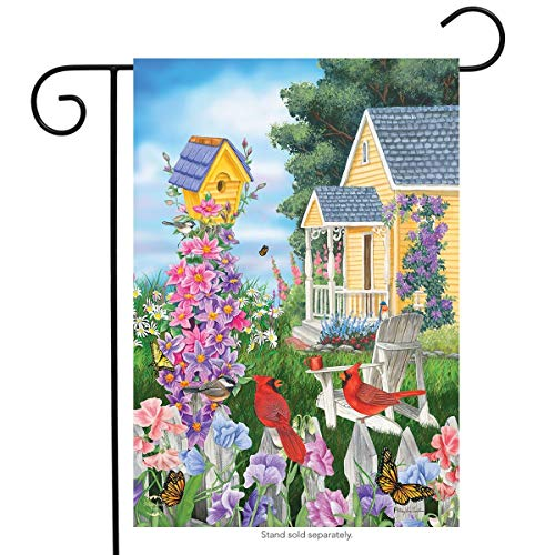 CHKWYN Full Bloom Spring Garden Flag Birdhouses Decorative Garden Flag Banner for Party Outdoor Home Decor Size: 28-inches W X 40-inches H -