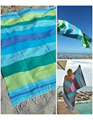 Fouta | Toalla hammam 'Casablanca' | toalla de baño liviana | Azul con rajas de color verde |100x190 cm | 100 % algodón de excelente calidad | diseño exclusivo de ZusenZomer