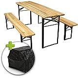 Ensemble table et bancs de brasserie - 3 pièces - housses et patins de protection inclus - pliable