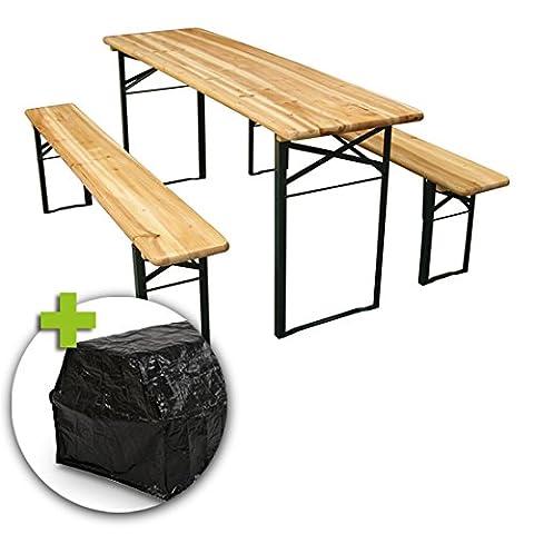 Miadomodo Wooden Trestle Beer Table Bench Set (Folding) Outdoor Garden Party Furniture
