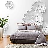 murando - Fototapete 150x105 cm - Vlies Tapete - Moderne Wanddeko - Design Tapete - Wandtapete - Wand Dekoration - Blumen 3D weiß b-B-0076-a-a
