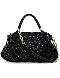 Phabdeals Women Shiny PU Leather Handbag Tote Black Sequined Crossbody Bag Top-Handle Bag