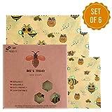 Bee's Trend - Juego de 6 envoltorios de cera de abeja   Almacenamiento natural de alimentos   Envoltorios de queso y sándwich sin residuos   Cubiertas lavables para cuenco Beige (Bees Pattern)