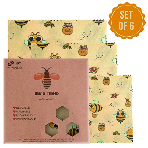 Bee's Trend - Juego de 6 envoltorios de cera de abeja |...