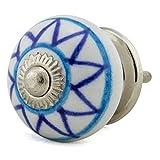 Keramik Vintage Möbelknopf Nr 0032 Jay Knopf 1 Blau Blautöne 5012-E R2-09 2 K32 Shabby Chic Retro Porzellan Griff Knauf