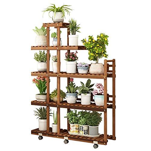 5 Tier-massivholz (FENGFAN-Blumenregal 5-Tier-Pflanzenständer, Massivholz-Blumentöpfe-Halter-Präsentationsständer, Regalregal für Indoor-Outdoor-Gartenbalkone)