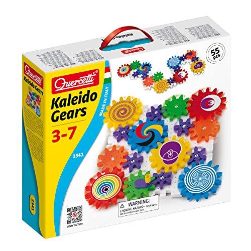 Quercetti 2341 - Kreatives Konstruktions-Stecksystem Kaleido Gears, inklusiv 55 Bauteile, farbig sortiert