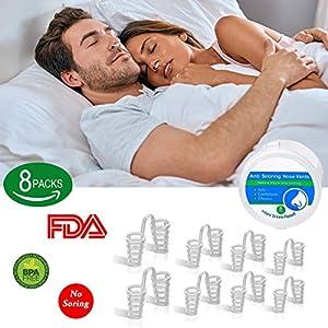 Schnarchstopper, BeYself 8 Sets Anti Schnarchen Geräte – Schnarchstopper Nasendilatatoren für Anti Schnarchen Unterstützung Schlafapnoe Relief