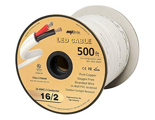LED-Leuchte mit 2 Leitern ummantelt für die Wandlautsprecher UL/cUL Klasse 2, 18AWG (2-leiter 16-gauge)