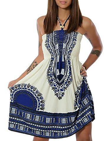 Damen Sommerkleid Strandkleid (weitere Farben) No 13765, Farbe:Blau (F022);Größe:One