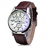 JACKY Faux Leather Men's Blue Ray Glass Quartz Analog Watches Brown