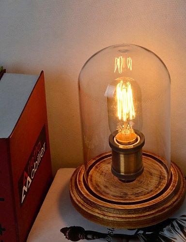 MZMZ regali di Natale Natale Illuminazione moderna moda legno Lampada da tavolo Campana di vetro legno Jar Lampada da tavolo camera da letto in stile al posto letto , 110-120V