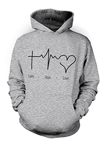 Faith Love Hope Heartbeat Religion Christian Herren Hoodie Sweatshirt Grau Small