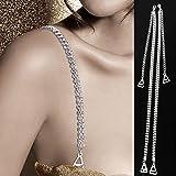 LUOEM Women's Adjustable Bra Straps with Metal Hook and Crystal Rhinstone, 1 Pair (Silver, 1499933-6228-1747106281)
