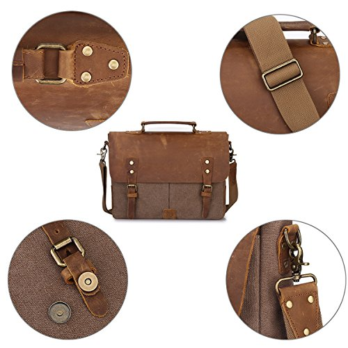S-ZONE Canvas Genuine Leather Trim Viaggi computer portatile della cartella Messenger Bag Adatto da 17 pollici MacBook Pro o altro 15,6 pollici Laptop Caffè