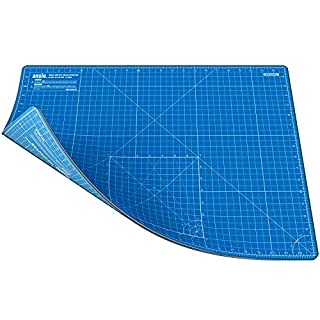 ANSIO Craft Cutting Mat Self Healing A2 Double Sided 5 Layers - Quilting, Sewing, Scrapbooking, Fabric & Papercraft - Imperial/Metric 22.5 Inch x 17 Inch / 59cm x 44cm - True Blue/Sky Blue