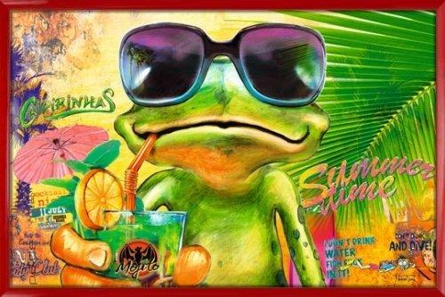 Poster mit Rahmen 61 x 91,5 cm, Rot - Cooler Frosch mit Sonnenbrille gerahmt - Antireflex Acrylglas