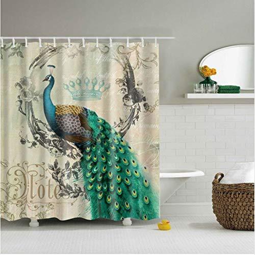 (SFQAZW Wasserdichte Tier Gedruckt Design Bad Duschvorhang 3D Duschvorhang Mit 12 Haken Set Stoff Bad Vorhang (W) 200x(H) 180cm)