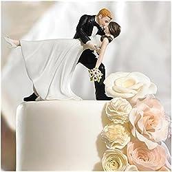 SwirlColor Cake Toppers de la boda romántica danza del tango resina Muñecas novia y el novio estatuilla para la decoración de la torta
