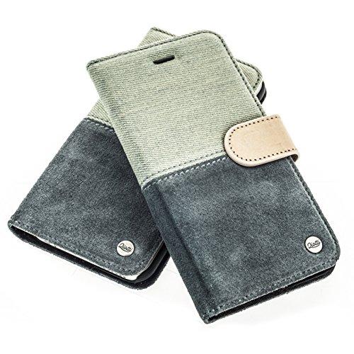 QIOTTI >          Apple iPhone 7 PLUS (5,5&quot;)          < incl. PANZERGLAS H9 HD+ Geschenbox Booklet Wallet Case Hülle Premium Tasche aus echtem Leder mit Kartenfächer. Edel verpackt incl. Stoffbeutel. HALF RAW KOLLEKTIO DENIM