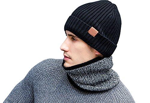Rojeam Sombrero / bufanda / guantes del sombrero de la gorrita tejida del invierno de los hombres térmicos para mujer