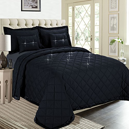 Fertige gesteppte Bettdecke, Imperial Zimmer bieten überlegene Qualität Reversible 5 piece Diamond Tröster-Set (schwarz | Doppelbett) Bettwäsche-Sets, elegante moderne Kollektion für Schlafzimmer: 1 Tagesdecken, 2 Kissen und 2 Dekorative Kissen