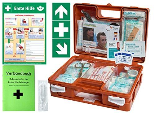 Erste-Hilfe-Koffer BG -Komplettpaket- für Gewerbe DIN/EN 13157 - Kleiner Betriebsverbandkasten von WM-Teamsport - inkl. Aushang & 1. Hilfe Aufkleber -