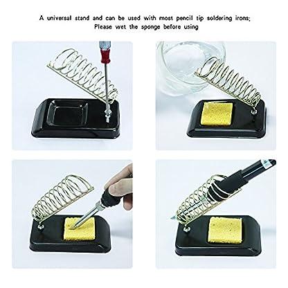 Kit del soldador Electrico, Aogolouk Soldadores de estaño de Temperatura Ajustable, 8-en-1 60W 220V, Soporte para soldadura, Bomba Desoldadora, 5 Puntas diferentes, soldadura de estaño
