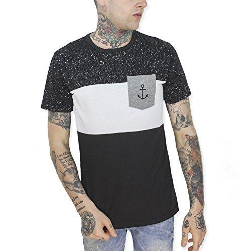 VIENTO Universe Patch Pocket Herren T-Shirt (Schwarz, M)