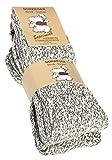 VCA 2 Paar superweiche Norwegersocken (Wollsocken), Stricksocken. Für Damen und Herren. Premium Qualität. Farbe: Grau meliert