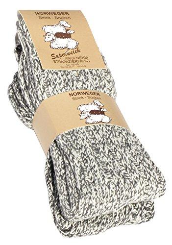 Lot de 2 paires de chaussettes norvégiennes (Chaussettes de laine), tricoter des chaussettes. Pour les hommes et les femmes. - 39-42 - Gris