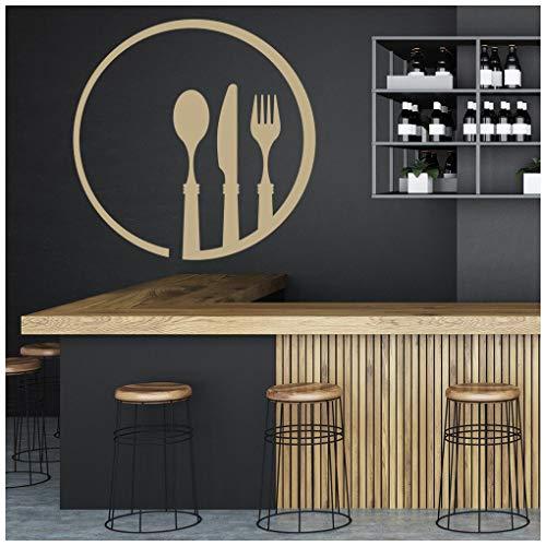 azutura Cucchiaio per forchetta Adesivo Murale Cucina posate Adesivo Da Parete Ristorante del caffè arredamento disponibile in 5 dimensioni e 25 colori Grande Oro Metallizzato
